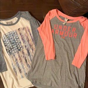 Lot of 2 baseball style tee shirts